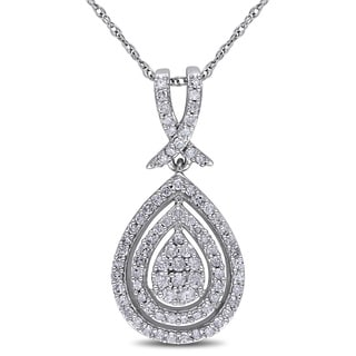 Miadora 10k White Gold 1/2ct TDW Diamond Halo Teardrop Necklace (G-H, I2-I3)