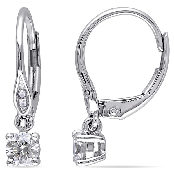 Miadora 10k White Gold 1/2ct TDW Diamond Leverback Earrings