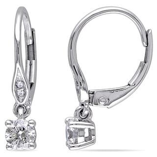Miadora 10k White Gold 1/2ct TDW Diamond Leverback Earrings (G-H, I2-I3)