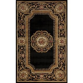 Aubusson Medallion Hand-tuft Area Wool Rug (8' x 11')