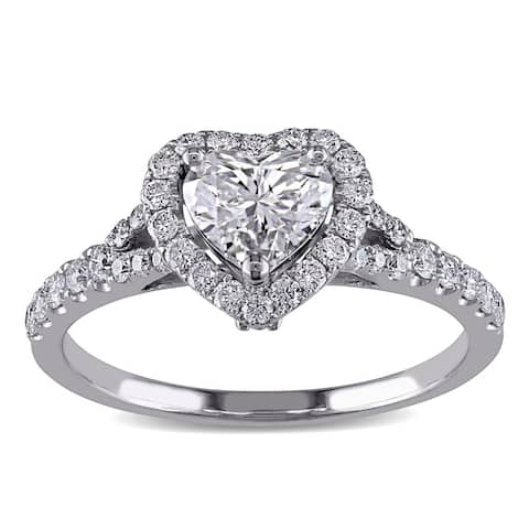 Miadora Signature Collection 14k White Gold 1 1/10ct TDW Diamond Heart Engagement Ring