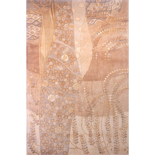Momeni New Wave Beige Hand-Tufted and Hand-Carved Wool Rug - 8' x 11'