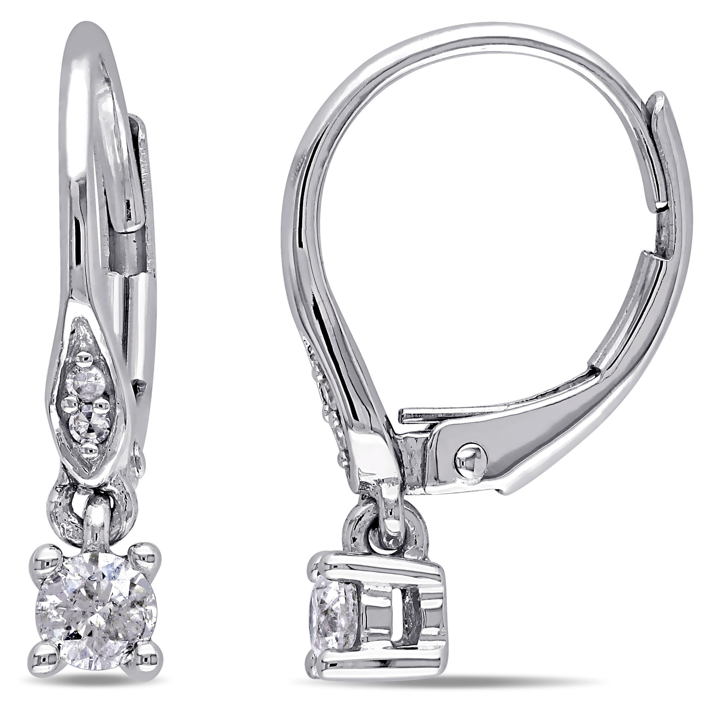 cf2b2b3ed9ed2 Details about Miadora 10k White Gold 1/4ct TDW Diamond Leverback Earrings  Small