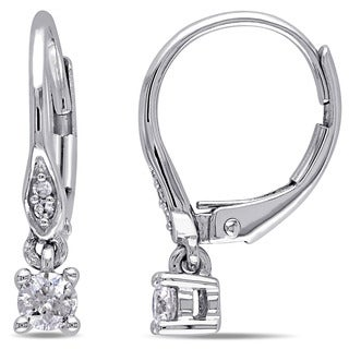 Miadora 10k White Gold 1/4ct TDW Diamond Leverback Earrings