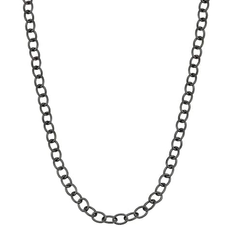 Fremada Black Ruthenium Hollow Forzatina Link Chain Necklace (30 inches)