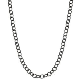 Fremada Black Ruthenium Hollow Forzatina Link Chain Necklace 30 Inches