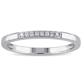 Miadora Sterling Silver Diamond Accent Stackable Wedding Band