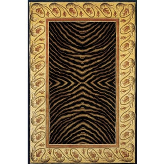 Momeni New Wave Black Hand-Tufted and Hand-Carved Wool Rug (8' X 11')