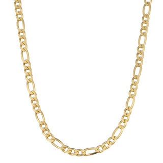 Fremada 14K Yellow Gold over Sterling Silver Figaro Chain Necklace (18 inches)