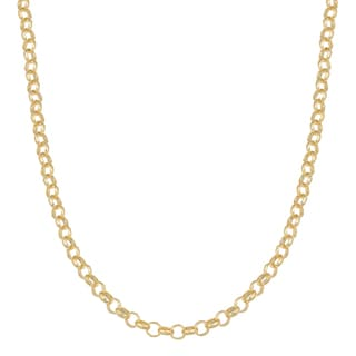 Fremada 14k Yellow Gold over Sterling Silver 3mm High Polish Finish Rolo Link Necklace