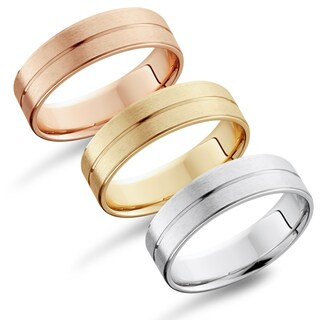 Bliss 14k Gold Men's Flat 6mm Brushed Wedding Band (More options available)