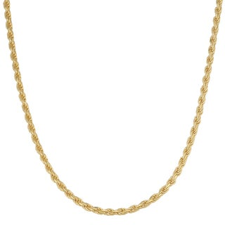 Fremada 14k Yellow Gold over Sterling Silver 2mm Rope Necklace