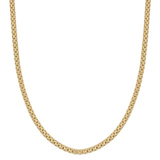 Fremada 14k Yellow Gold over Sterling Silver 2.3mm High Polish Finish Round Box Necklace