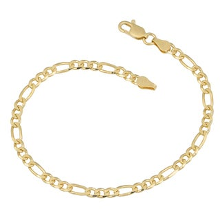 Fremada 14k Yellow Gold over Sterling Silver 4mm Figaro Link Bracelet
