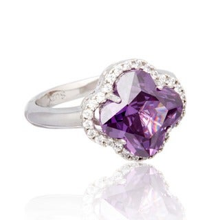 Suzy Levian Sterling Silver Purple Cubic Zirconia Halo Ring