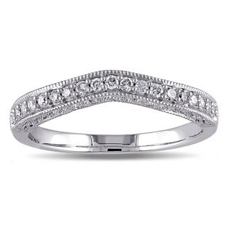 Miadora 14k White Gold 1/5ct TDW Diamond Wedding Band