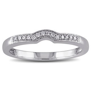 Miadora Sterling Silver Diamond Accent Contour Stackable Anniversary-style Bridal Wedding Band