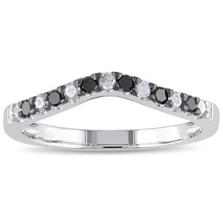 Miadora Sterling Silver 1/3ct TDW Black and White Diamond Anniversay Stackable Contour Wedding Band (H-I, I2-I3)