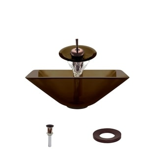 MR Direct 603 Taupe Colored Glass Vessel Sink, with Oil-Rubbed Bronze Vessel Faucet, Sink Ring, and Vessel Pop-up Drain