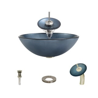 MR Direct 633 Hand-Painted Glass Vessel Sink, with Brushed Nickel Vessel Faucet, Sink Ring, and Vessel Pop-up Drain