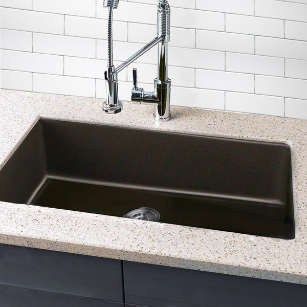 Highpoint collection granite composite 33 inch single bowl - Undermount granite composite kitchen sink ...