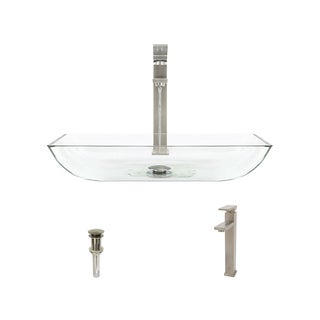Mr Direct 640 Crystal Brushed Nickel Bathroom Sink and Faucet Ensemble