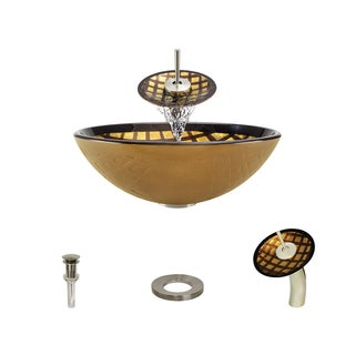 MR Direct 635 Foil Undertone Glass Vessel Sink, with Brushed Nickel Vessel Faucet, Sink Ring, and Vessel Pop-up Drain
