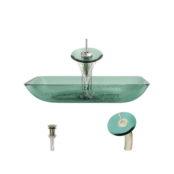 640 Emerald Colored Glass Vessel Bathroom Sink, with Brushed Nickel Vessel Faucet, and Vessel Pop-up Drain