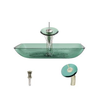 MR Direct 640 Emerald Colored Glass Vessel Bathroom Sink, with Brushed Nickel Vessel Faucet, and Vessel Pop-up Drain
