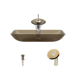 MR Direct 640 Taupe Colored Glass Vessel Bathroom Sink, with Brushed Nickel Vessel Faucet, and Vessel Pop-up Drain
