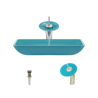 The MR Direct 640 Turquoise Brushed Nickel Bathroom Ensemble