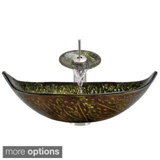 MR Direct 643 Foil Undertone Leaf Glass Vessel Sink, Brushed Nickel Vessel Faucet, Sink Ring, and Vessel Pop-Up Drain