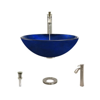 MR Direct 644 Foil Undertone Blue Glass Vessel Sink, Brushed Nickel Vessel Faucet, Sink Ring, and Vessel Pop-Up Drain