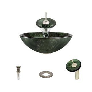 MR Direct 629 Forest Green Glass Vessel Bathroom Sink, with Brushed Nickel Vessel Faucet, Sink Ring, and Vessel Pop-up Drain