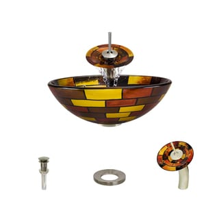 MR Direct 621 Stained Glass Vessel Bathroom Sink, with Brushed Nickel Vessel Faucet, Sink Ring, and Vessel Pop-up Drain