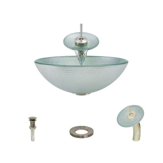 MR Direct 636 Foil Undertone Glass Vessel Sink, with Brushed Nickel Vessel Faucet, Sink Ring, and Vessel Pop-up Drain