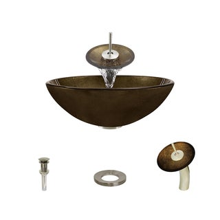 MR Direct 637 Foil Undertone Glass Vessel Sink, with Brushed Nickel Vessel Faucet, Sink Ring, and Vessel Pop-up Drain