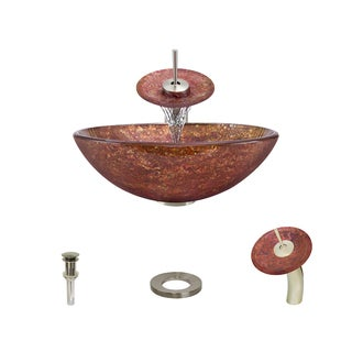 MR Direct 639 Foil Undertone Glass Vessel Sink, with Brushed Nickel Vessel Faucet, Sink Ring, and Vessel Pop-up Drain