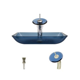 MR Direct 640 Aqua Colored Glass Vessel Bathroom Sink, with Brushed Nickel Vessel Faucet, and Vessel Pop-up Drain