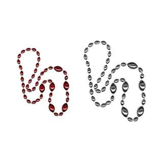 Sports Spirit Jewelry Red/ Silver Jumbo Football Beads (Set of 2)