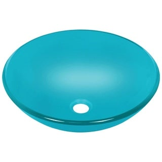 MR Direct 601 Turquoise Colored Glass Vessel Sink, with Brushed Nickel Vessel Faucet, Sink Ring, and Vessel Pop-up Drain