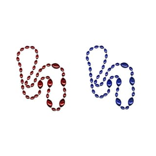 Sports Spirit Jewelry Royal Blue/ Red Jumbo Football Beads (Set of 2)
