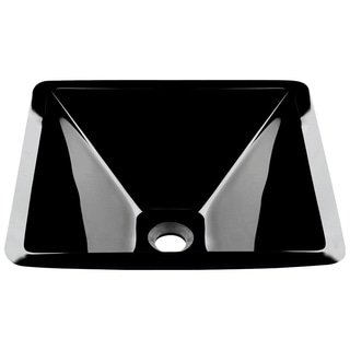 MR Direct 603 Black Dark Colored Glass Vessel Sink, with Brushed Nickel Vessel Faucet, Sink Ring, and Vessel Pop-up Drain