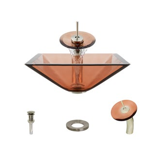 MR Direct 603 Coral Colored Glass Vessel Sink, with Brushed Nickel Vessel Faucet, Sink Ring, and Vessel Pop-up Drain
