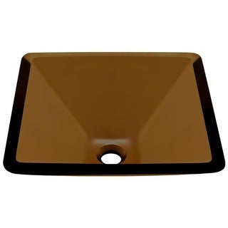 MR Direct 603 Taupe Colored Glass Vessel Sink, with Brushed Nickel Vessel Faucet, Sink Ring, and Vessel Pop-up Drain