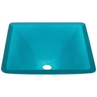 MR Direct 603 Turquoise Colored Glass Vessel Sink, with Brushed Nickel Vessel Faucet, Sink Ring, and Vessel Pop-up Drain