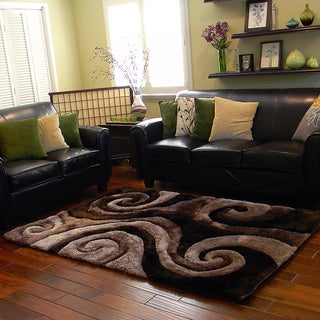 Donnie Ann Shaggy Abstract Swirl Brown Area Rug (5 'x 7')