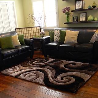 Donnie Ann Shaggy Abstract Swirl Brown Area Rug (5 'x 7')