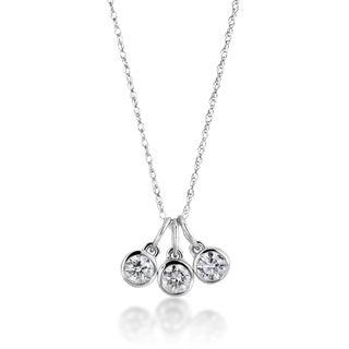 14k White Gold 1/2ct TDW Diamond 3-stone Drop Necklace (H-I, SI1-SI2)