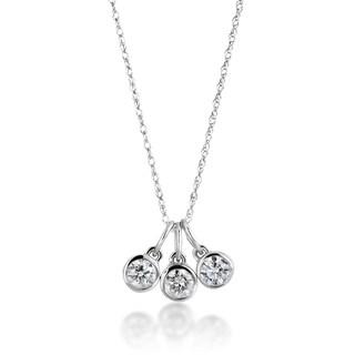 14k White Gold 1/2ct TDW Diamond 3-stone Drop Necklace